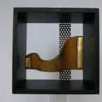 Induktion, Collage im Kastenrahmen, Maße: 23x23x12 cm H.B.T.