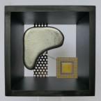 Collage im MDF Kastenrahmen, Maße: 18 x 18 x 12 cm. H:B:T